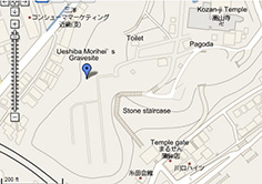 Kozan-ji Temple map with Ueshiba Morihei's gravesite