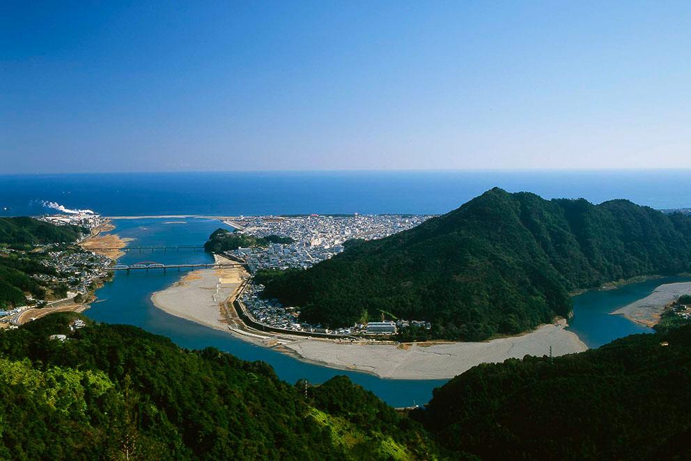 Shingu city at the mouth of the Kumano-gawa River
