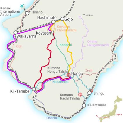 Koyasan and Hongu (Yunomine & Kawayu) Access