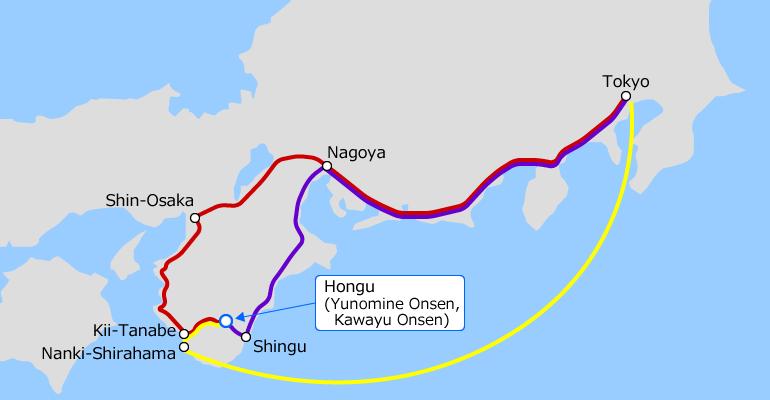Tokyo and Hongu (Yunomine Onsen, Kawayu Onsen) Access