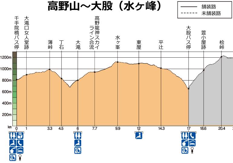 高野山~大股の高低図