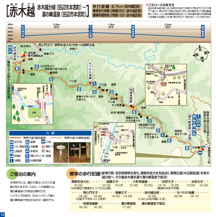 熊野古道中辺路 赤木越 ウォークマップ画像