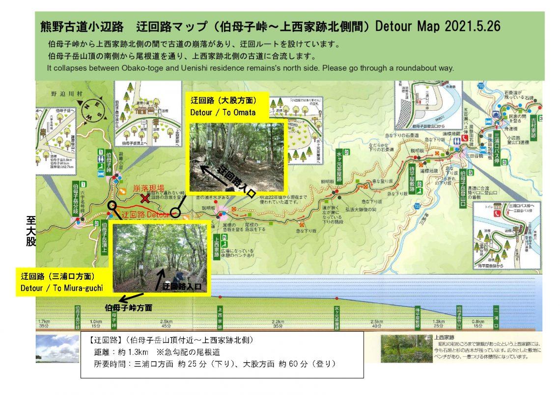 熊野古道小辺路 「伯母子峠」と「上西家跡」北側間の迂回路について(2021年5月27日)